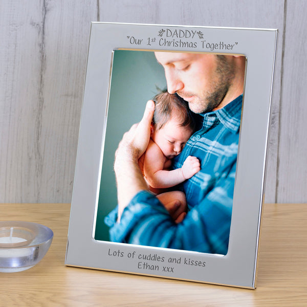 "Personalised Silver Plated Frame - ""DADDY Our 1st Christmas Together"" 