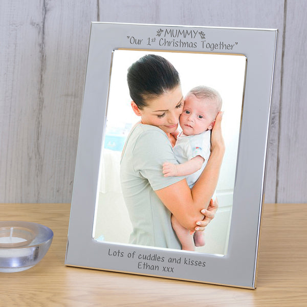 Personalised Silver Plated Frame MUMMY Our 1st Christmas