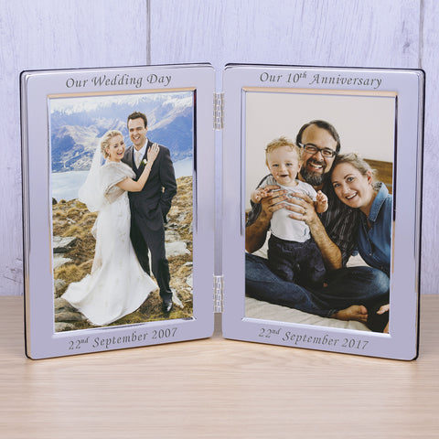 Personalised 6x4 Silver Plated Double Frame Our Wedding - Shane Todd Gifts UK