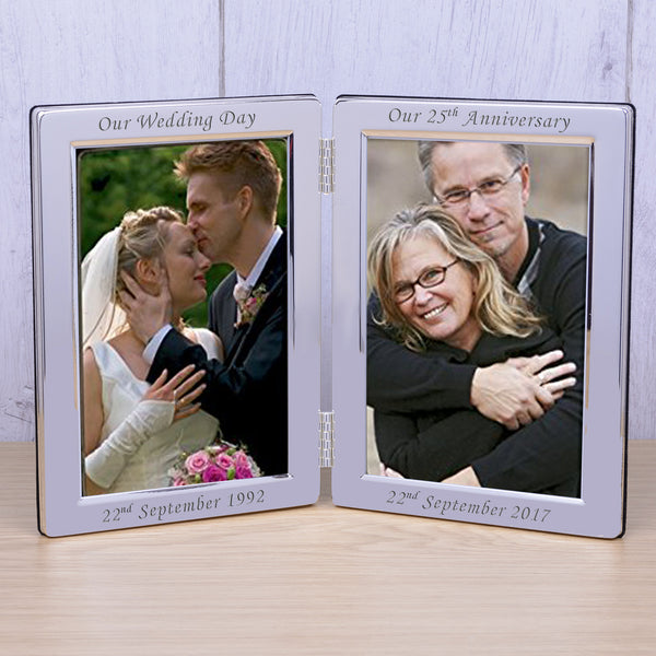 Personalised 6x4 Silver Plated Double Frame Our Wedding - Gifts24-7.co.uk