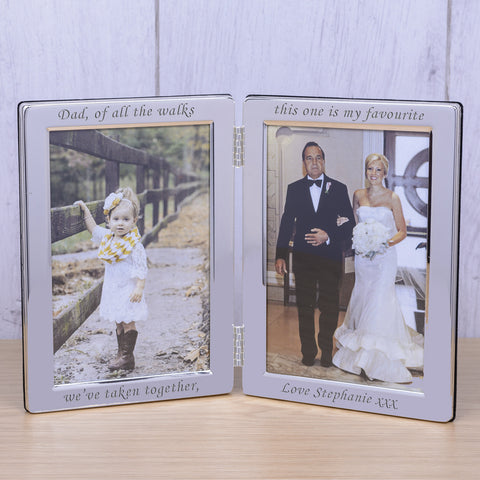 Personalised 6x4 Silver Plated Double Frame Dad of all.. - Gifts24-7.co.uk