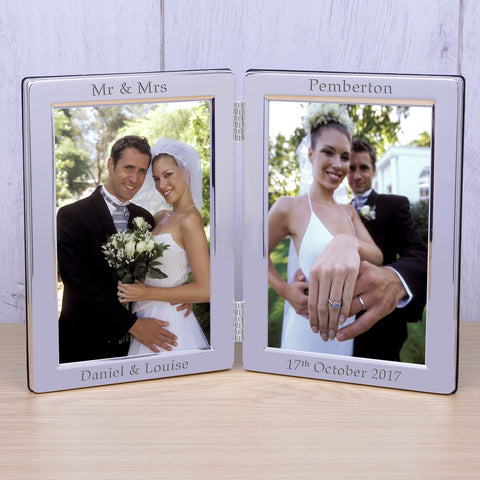 Personalised 6x4 Silver Plated Double Frame Wedding - Shane Todd Gifts UK
