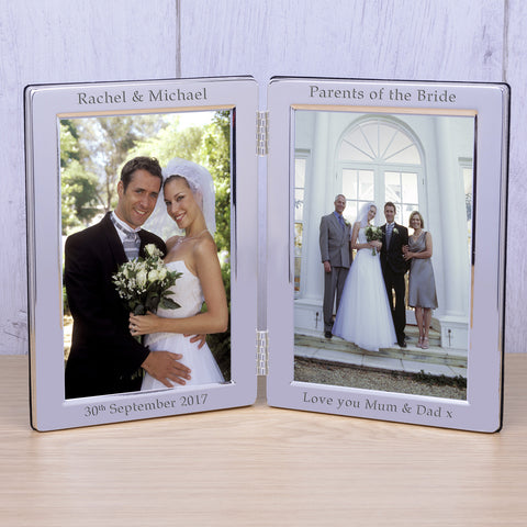 Personalised Silver Plated Double Frame Wedding Party Role | Gifts24-7.co.uk