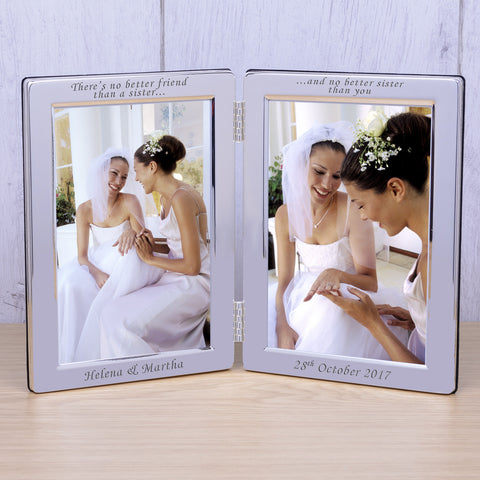 Personalised Silver Plated Double Frame Theres no better... | Gifts24-7.co.uk