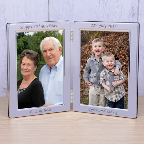 Personalised Silver Plated Double Frame | Gifts24-7.co.uk