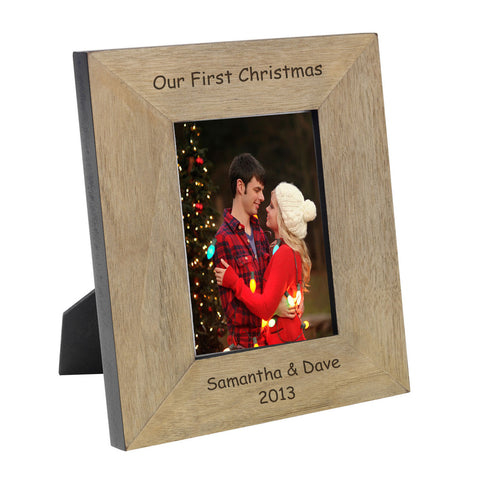 Our First Christmas Wood Frame 6x4 - Shane Todd Gifts UK