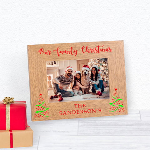 Personalised Our Family Christmas Wood Frame 6x4
