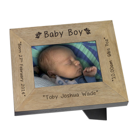 Baby Boy Wood Frame 7x5 - Gifts24-7.co.uk