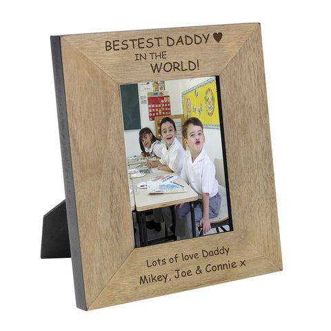 Bestest Daddy Wood Frame 6x4 - Shane Todd Gifts UK