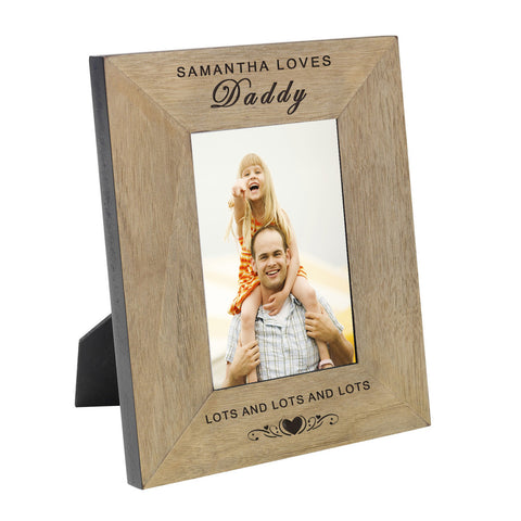 Loves Daddy Wood Frame 6x4 - Shane Todd Gifts UK