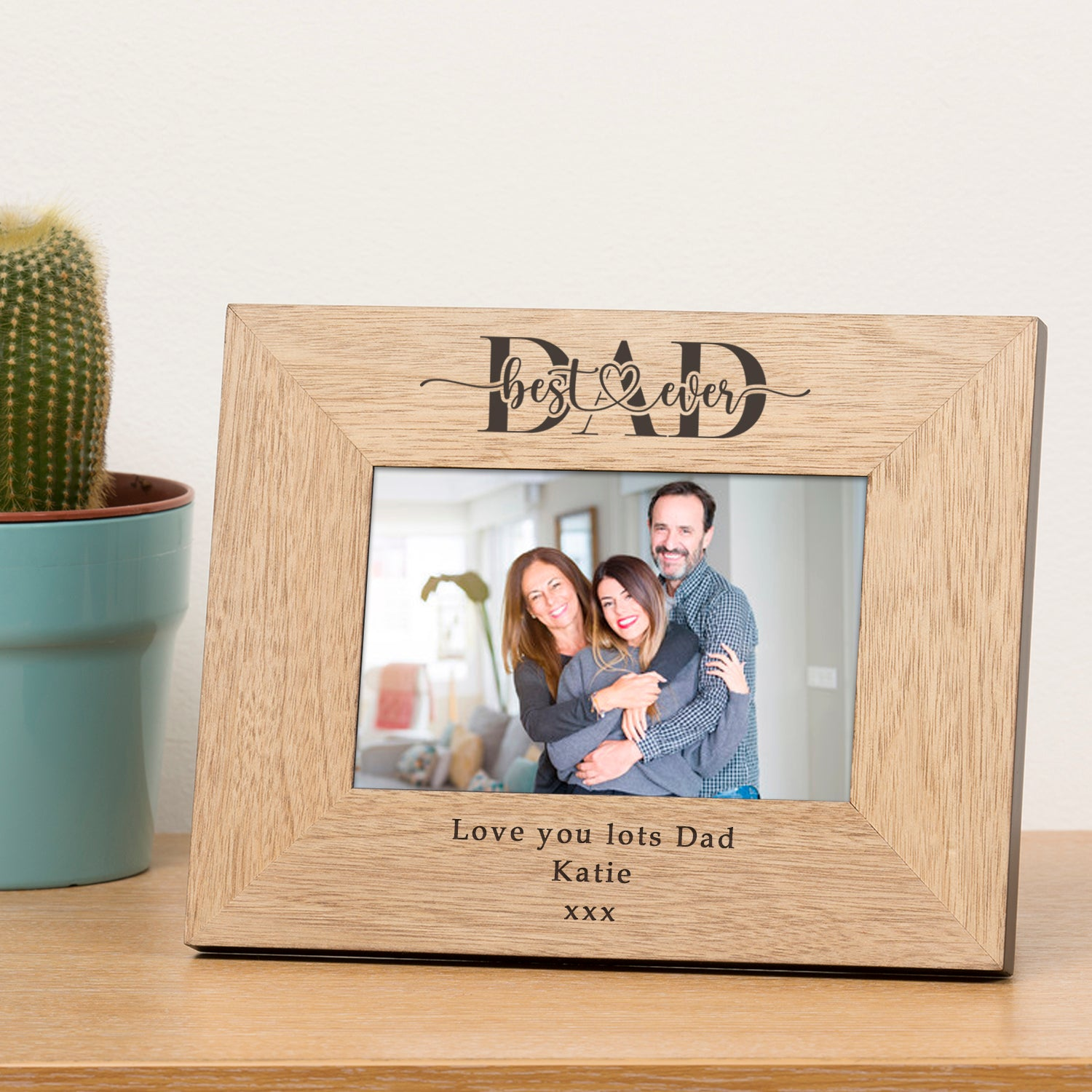 Personalised Best Ever Dad / Daddy Wood Frame 7x5, Home & Garden by Low Cost Gifts