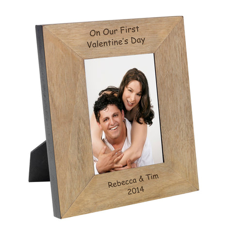 On Our First Valentines Day Wood Frame 7x5