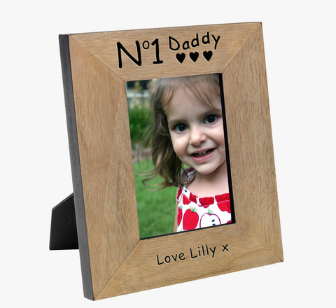 No 1 Daddy Wood Frame 6x4 - Shane Todd Gifts UK