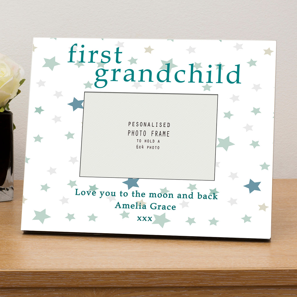 First Grandchild Personalised Wooden 6x4 Photo Frame – Gifts24-7.co.uk