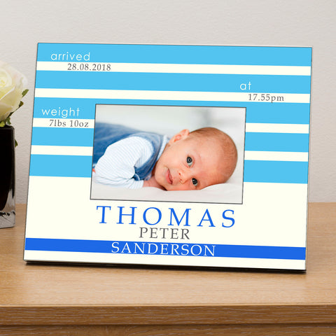 New Baby Personalised Wooden 6x4 Photo Frame Available in Pink or Blue