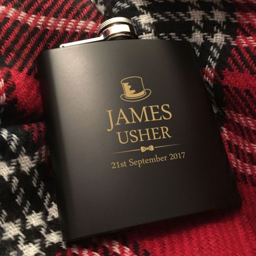 Usher Personalised Hip Flask Gift Set