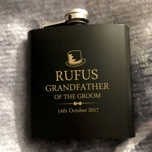 Grandfather of the Groom Personalised Hip Flask Gift Set