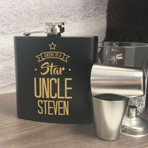 Personalised Star Uncle Hip Flask, Kitchen & Dining by Gifts24-7