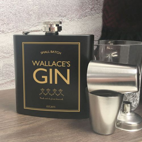 Personalised Gin Hip Flask Gift Set, Food & Beverage Carriers by Gifts24-7
