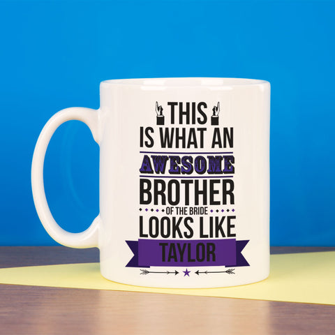 Personalised Awesome Brother of the Bride Mug