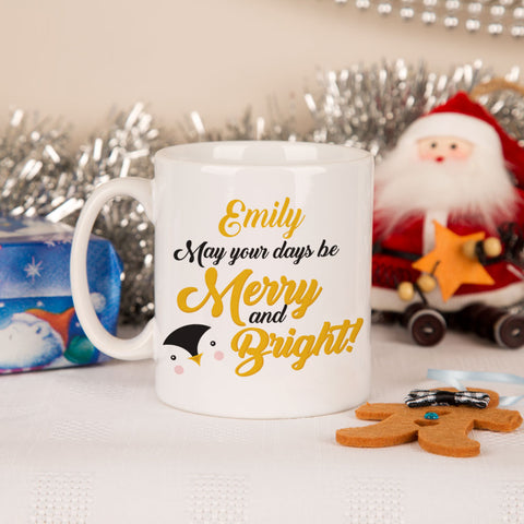 """Merry and Bright"" Penguin Mug"