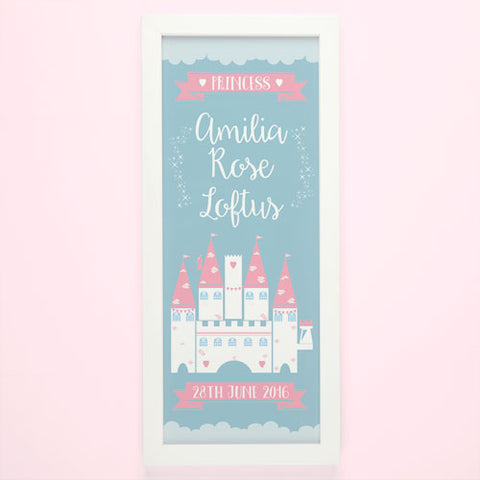 Princess Castle Personalised Framed Print | ShaneToddGifts.co.uk