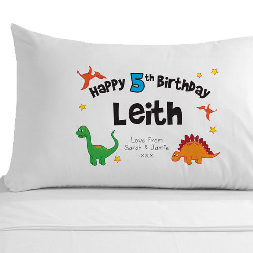 Personalised Birthday Dinosaur Pillowcase, Linens & Bedding by Low Cost Gifts