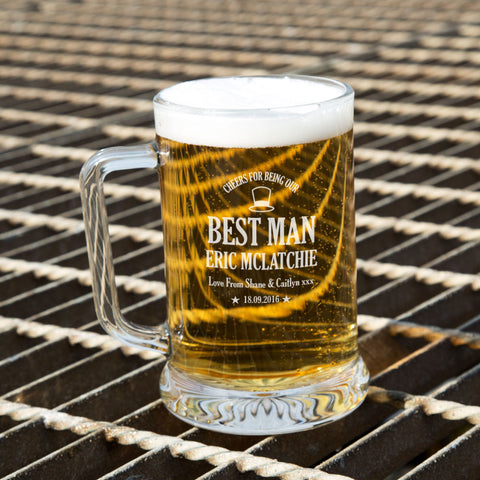 Personalised Awesome Best Man Glass Beer Tankard