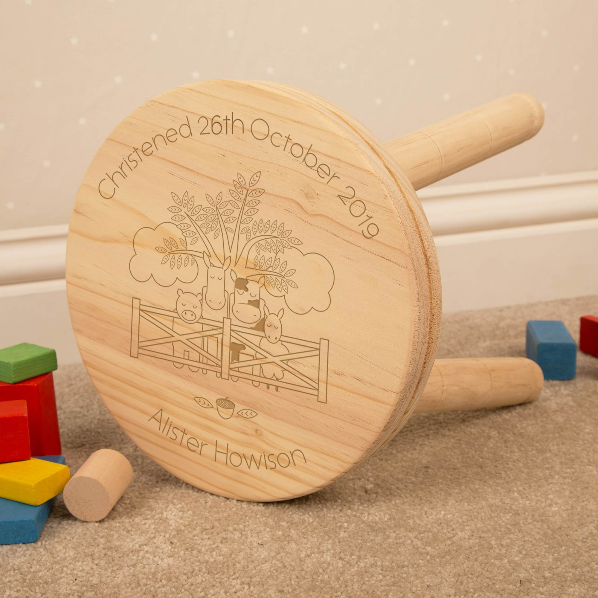 Personalised Farmyard Wooden Stool, Furniture by Low Cost Gifts