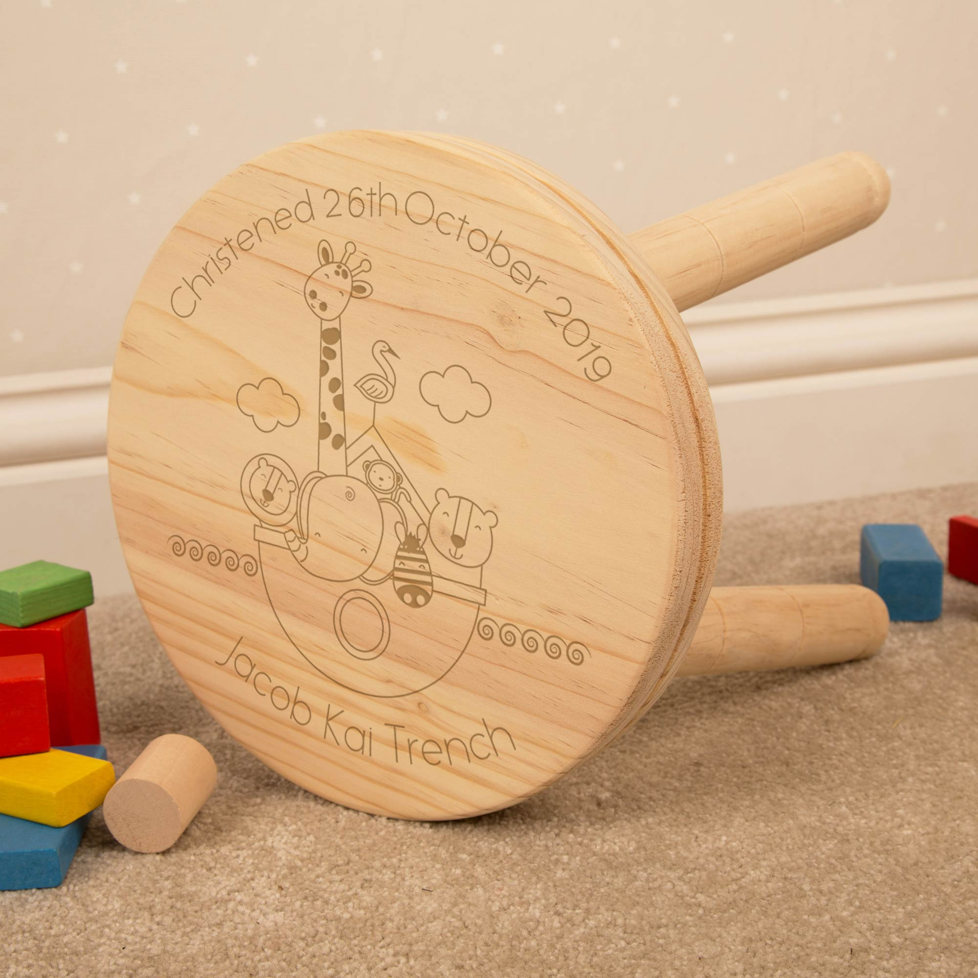 Personalised Noahs Ark Wooden Stool, Furniture by Low Cost Gifts