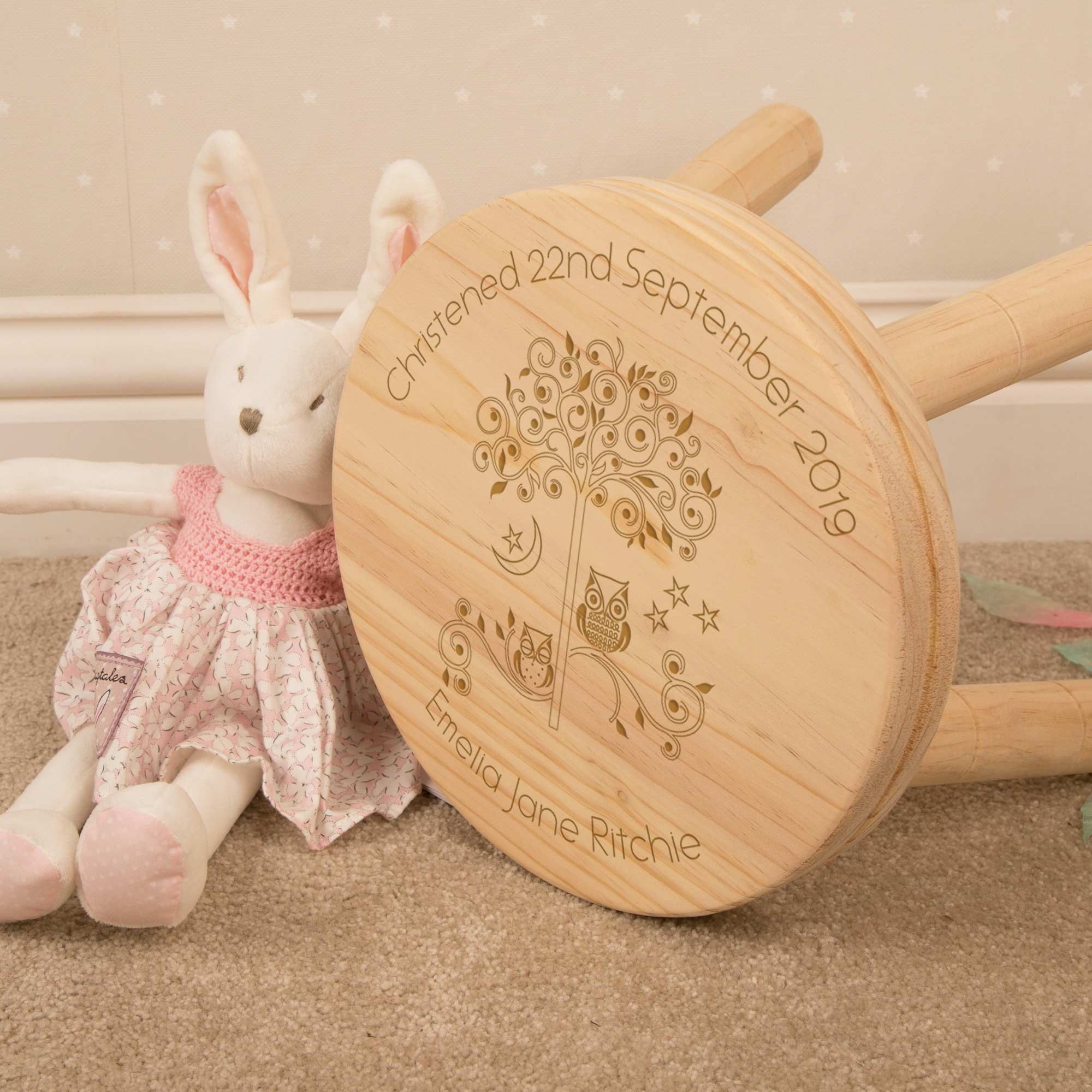 Personalised Owl Wooden Stool, Furniture by Low Cost Gifts