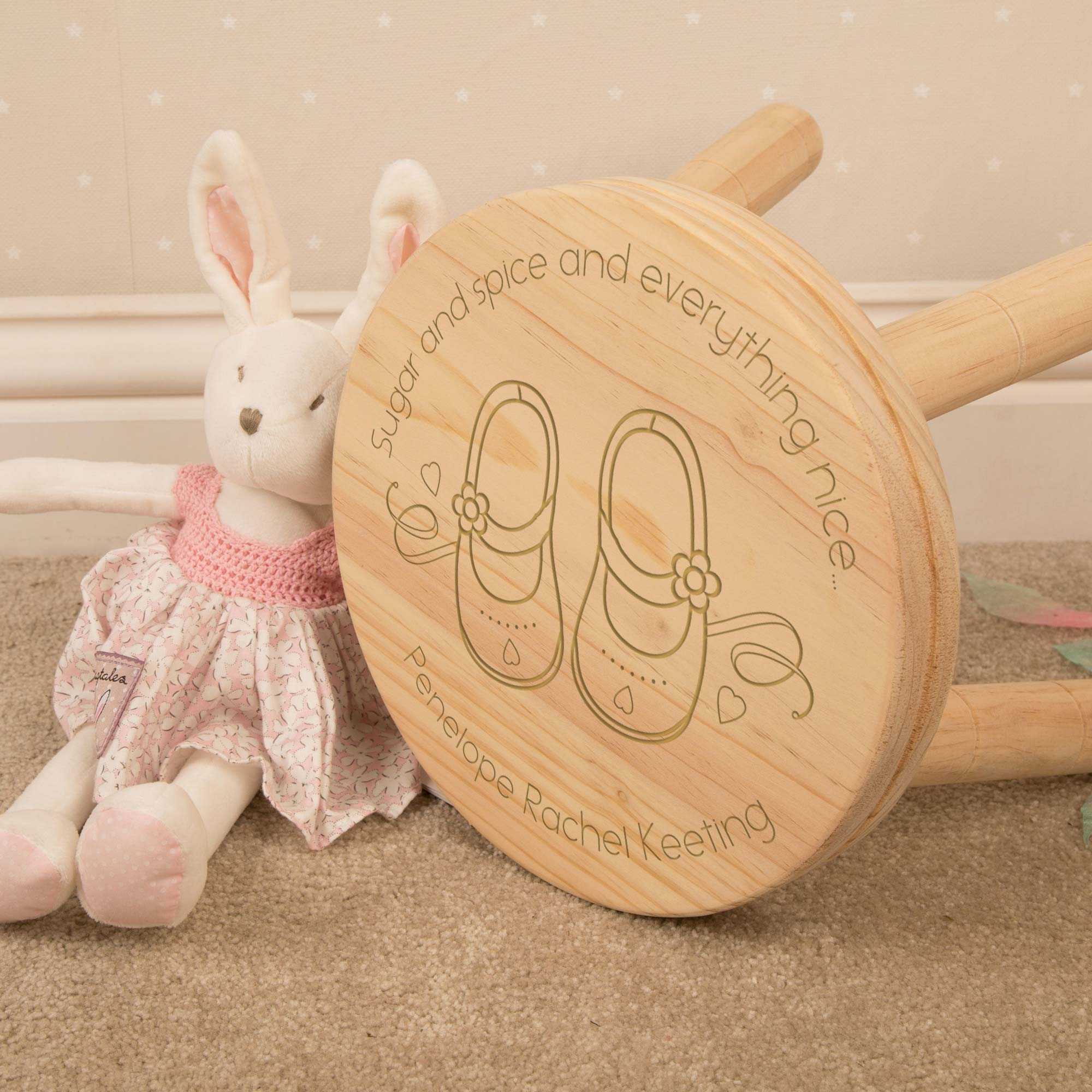Personalised Little Girls Wooden Stool, Furniture by Low Cost Gifts