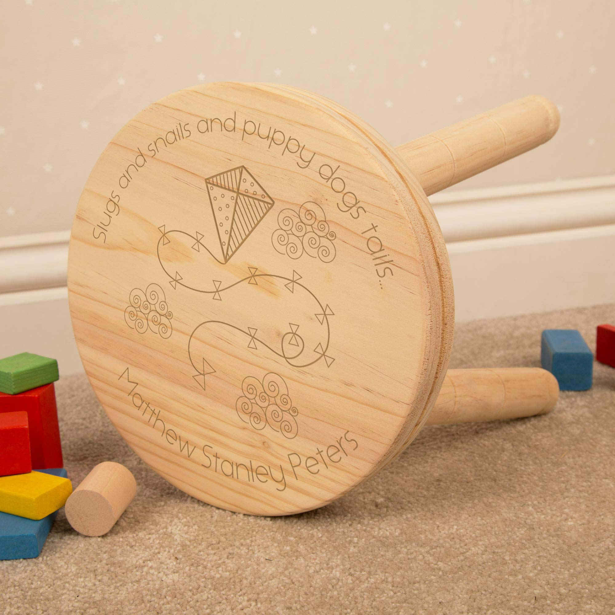 Personalised Little Boys Wooden Stool, Furniture by Low Cost Gifts