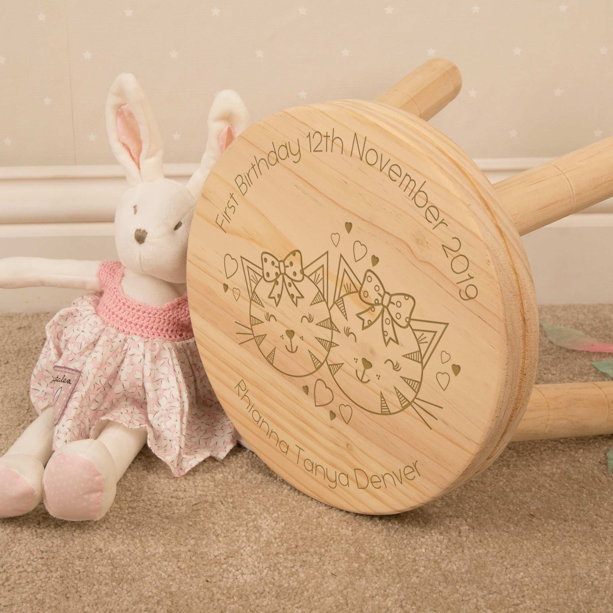 Personalised Cute Cats Wooden Stool, Furniture by Low Cost Gifts