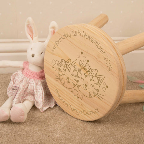 Personalised Cute Cats Wooden Stool