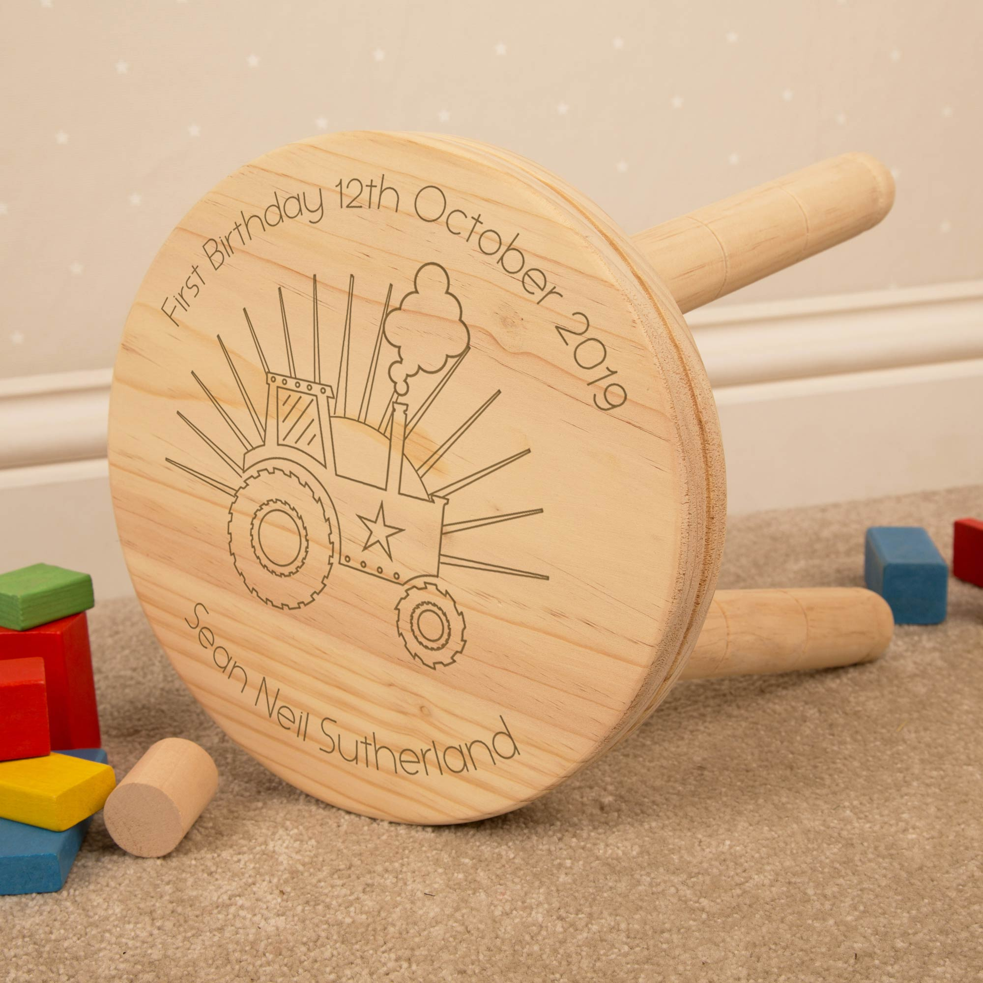 Personalised Tractor Wooden Stool, Furniture by Low Cost Gifts