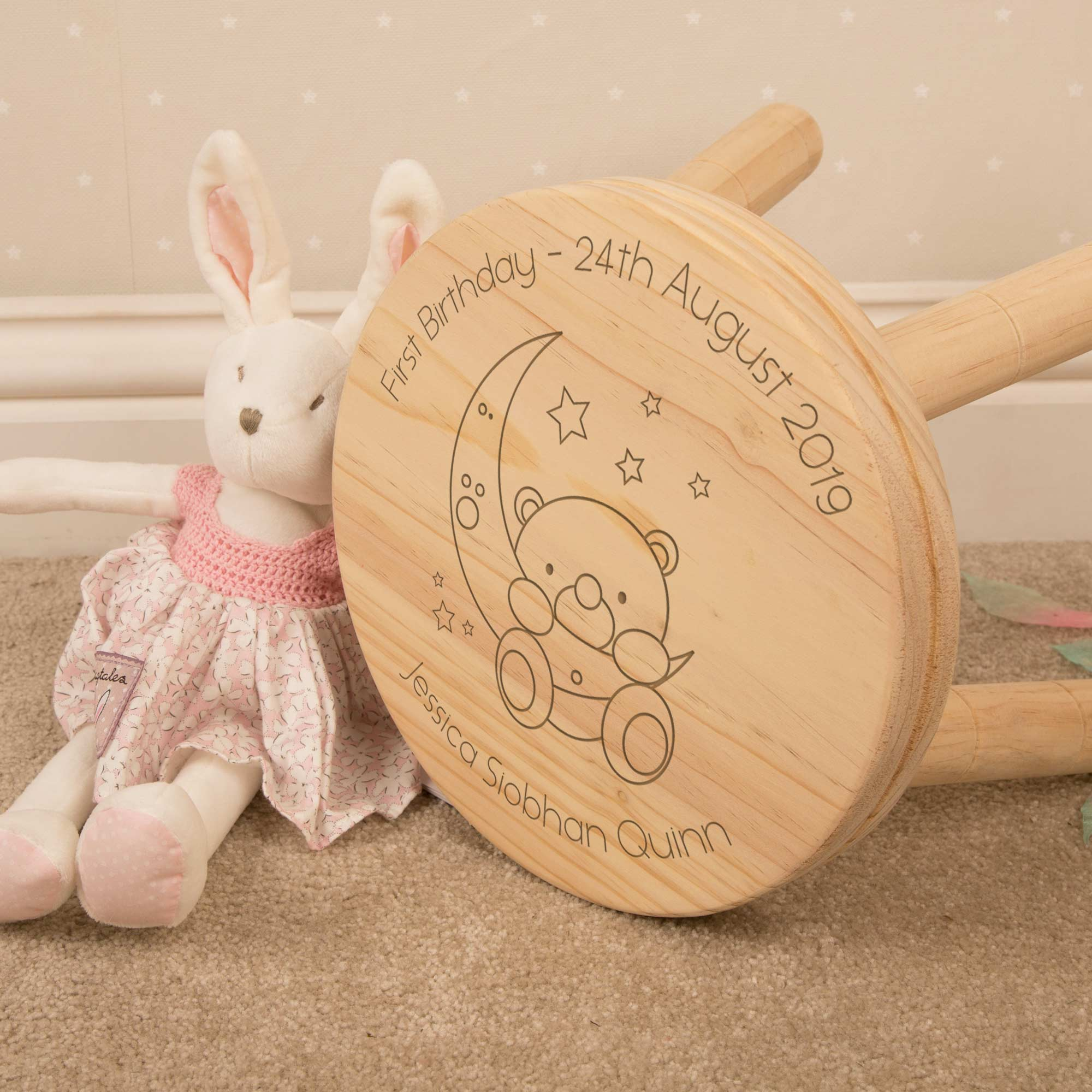 Personalised Baby Bear and Moon Child Wooden Stool, Furniture by Low Cost Gifts
