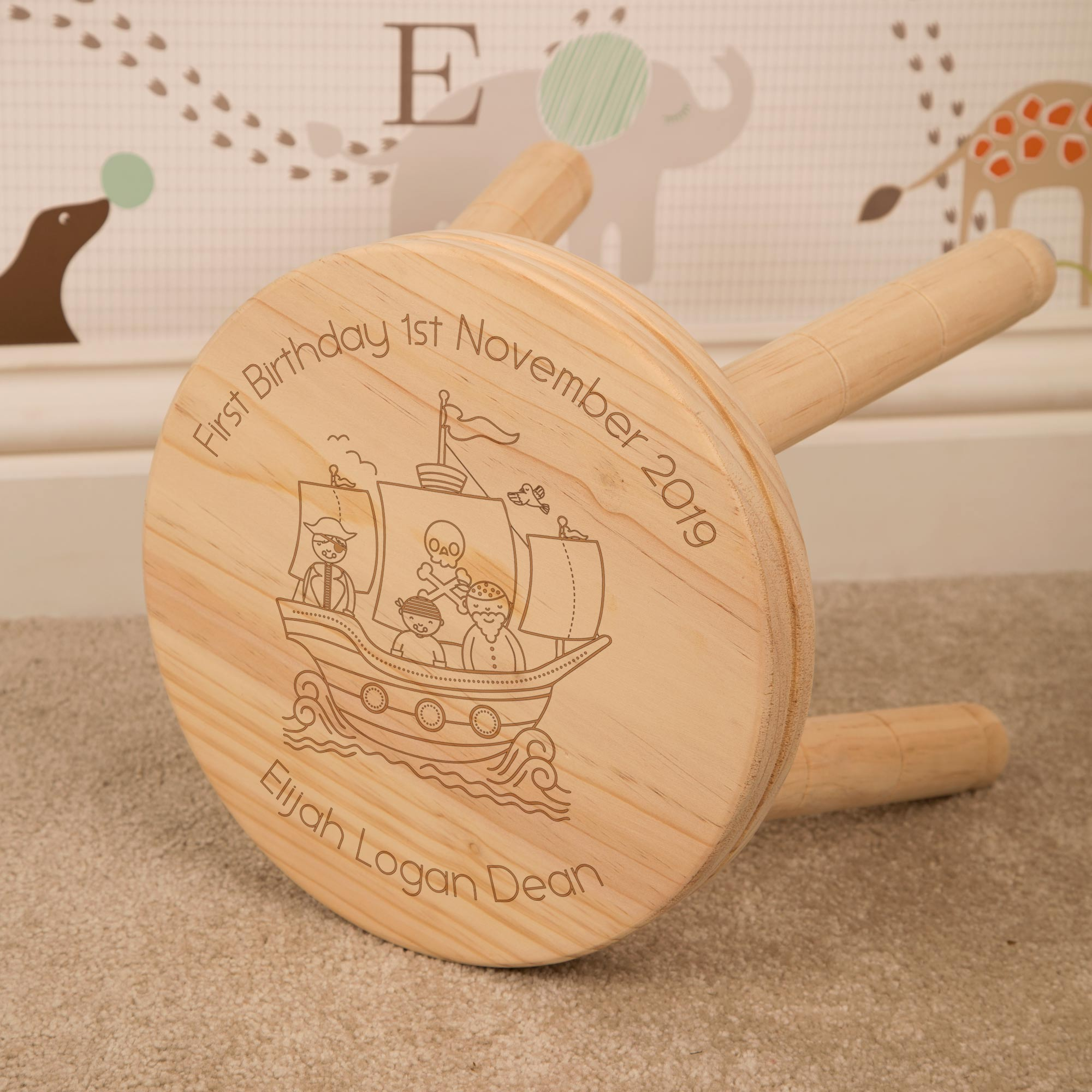 Kids Pirate Ship Wooden Stool, Furniture by Low Cost Gifts
