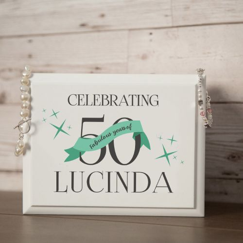 50th Birthday Personalised White Jewellery Box for Her