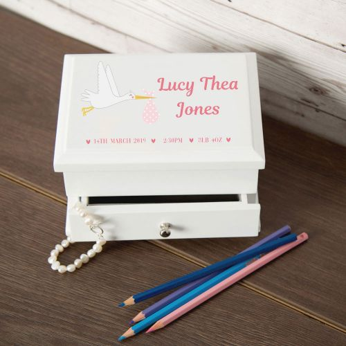New Baby Stork Design Personalised Jewellery Box
