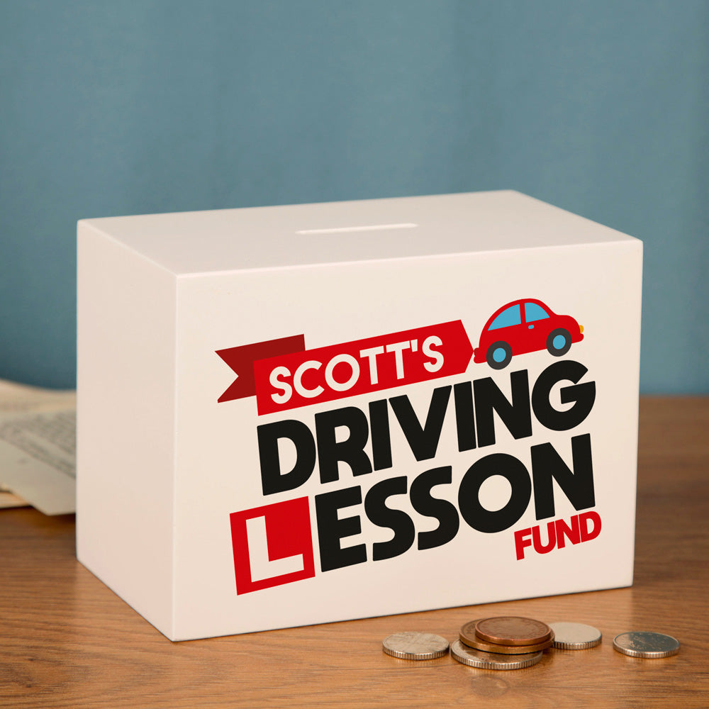 Driving Lessons Savings Box Personalised for Him or Her