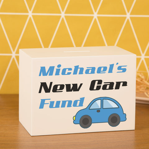 Personalised White Wooden Money Box Blue New Car Fund Design