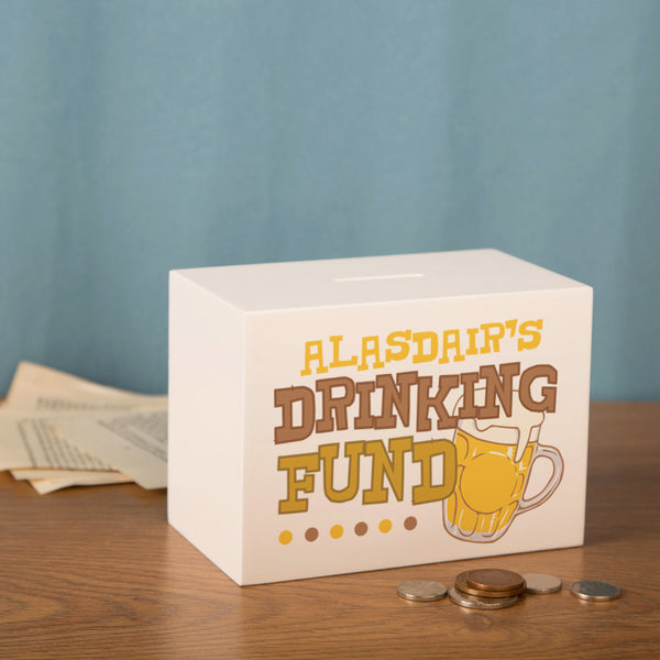 Personalised Drinking Money Box.