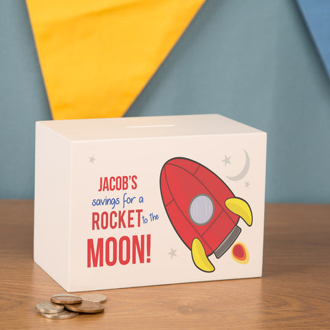 Personalised Wooden Rocket Space Ship Kids Money Box
