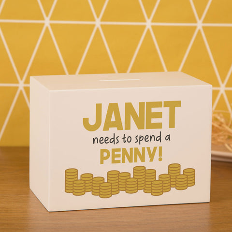 Personalised Spend a Penny White Wooden Money Box