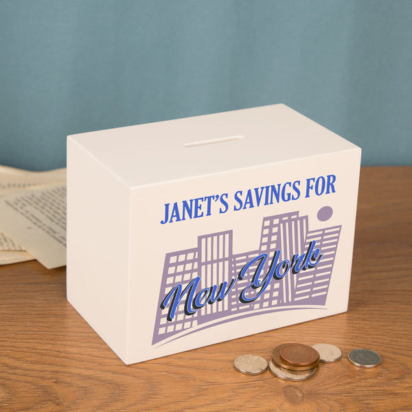 Personalised New York Savings Fund Personalised Wooden Money Box