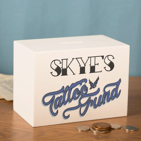 Personalised Tattoo Money Box. Tattoo Coin Box for Him or Her
