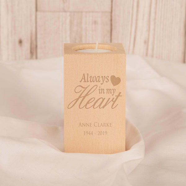 Always in my Heart Personalised Wooden T Light Holder