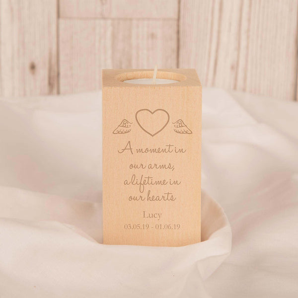 A moment in our hearts Engraved Baby Memorial Wooden Tealight Holder