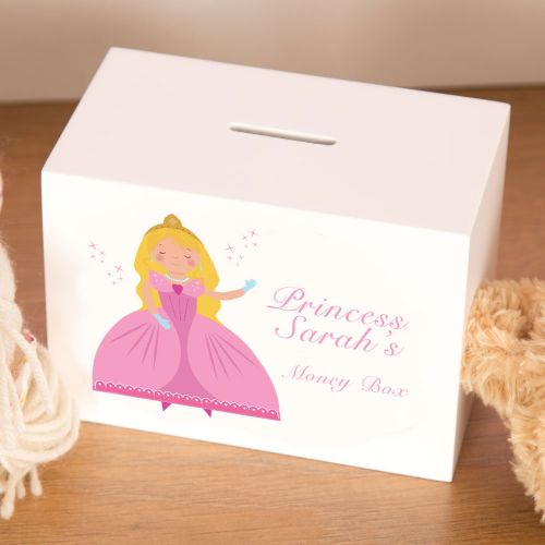Personalised Princess Wooden Money Box for a little Girl